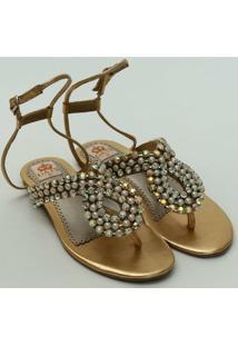 Sandalia Perolas E Cristaisdourado - Feminino-Dourado