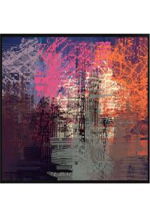 Quadro Decorativo Abstrato- Preto & Rosa- 70X70Cm