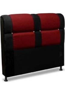 Cabeceira De Casal 140Cm Para Cama Box Colombia Suede Animale Preto/Vermelho - Ds Móveis