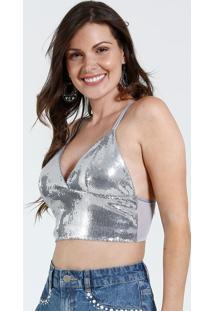 Sutiã Feminino Top Corpete Paetês Metalizado Marisa