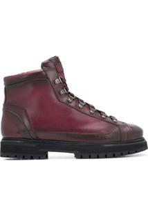 Santoni Ankle Boot Com Cadarço - Vermelho