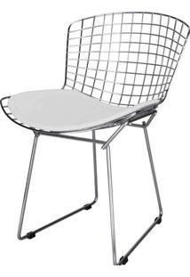 Cadeira Bertoia Assento Courrissimo Branco Cromada 4335 Sun House