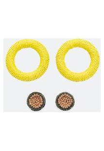 Kit 2 Brinco Formato Circular Em Ráfia | Accessories | Multicores | U