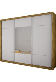 Guarda Roupa Casal Com Espelho 3 Portas De Correr Elegance Novo Horizonte Freijó Dourado/Branco
