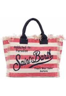 Mc2 Saint Barth Bolsa Tote Vanity Listrada - Vermelho