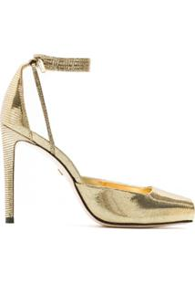 Schutz Sandália Metalizada Bico Quadrado - Dourado