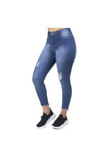 Calça Jeans Cigarrete Destroyed Intermediária No Alcance