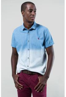 Camisa Jeans Reserva Mc Enxuto Calhau Masculina - Masculino-Azul Claro