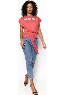 Blusa Em Moletom Com Inscrição- Vermelha & Branca- Ccolcci