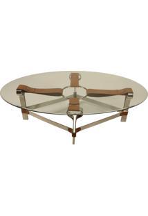 Mesa De Centro Decorativa Oval Em Aço Inox Lantus Com Detalhes De...