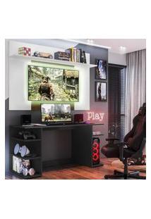 """Mesa Gamer Com Painel Tv 55"""" E Prateleira Guilda Plus Multimóveis Preto/Branco/Madeirado"""