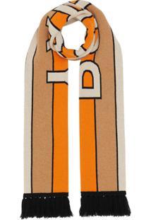 Burberry Cachecol Jacquard De Cashmere Com Logo - Marrom