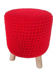 Puff De Madeira E Crochet Vermelho - Incolor - Dafiti