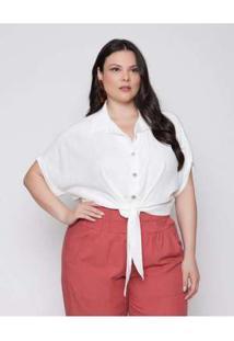 Camisa Almaria Plus Size Pianeta Cropped Off White Branco