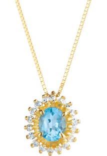 Pingente Ouro Amarelo Diamantes E Apatita Preciose