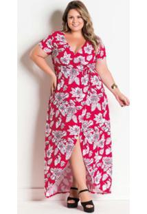 554fcfe4c ... Vestido Longo Floral Com Transpasse Plus Size