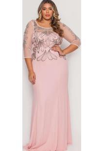 Vestido Almaria Plus Size Pianeta Longo Tule Rosa