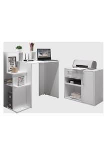 Conjunto De Escrivaninha/Balcáo Multiuso Branco Modern Office E Estilare Móveis