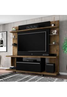 Estante Para Home Theater E Tv Até 50 Polegadas Torino Madeira Rústica E Preta