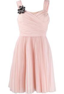 Pinko Vestido De Tule Plissado - Rosa