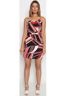 Vestido Mídi Abstrato - Preto & Vermelho- Operateoperate