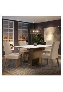 Conjunto Sala De Jantar Madesa Flavia Mesa Tampo De Madeira Com 4 Cadeiras - Rustic/Branco/Imperial Marrom