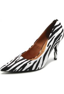 Scarpin Vizzano Zebra Branco - Branco - Feminino - Dafiti
