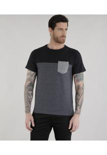 Camiseta Com Recorte Cinza Mescla Escuro