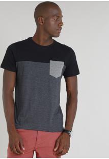 Camiseta Masculina Com Recorte E Bolso Manga Curta Gola Careca Cinza Mescla Escuro
