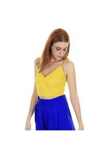 Blusa Cropped Alcinha Lisa Azul - Amarela Aha