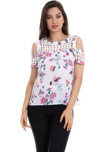 Blusa Crepe Estampada Com Ombro Vazado Feminina - Feminino-Branco+Rosa