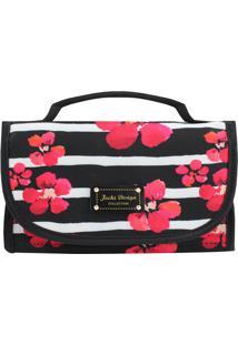 Nécessaire Rocambole Floral- Preta & Rosa- 12X23X9Cmjacki Design