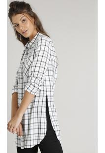 179acfe4dc ... Camisa Feminina Longa Estampada Xadrez Com Bolso Manga Longa Off White
