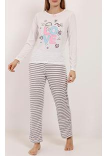 Pijama Longo Listras Feminino Bege