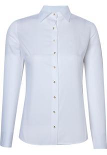 Camisa Dudalina Manga Longa Tricoline Maquinetado Mix Botões Feminina (Branco, 44)
