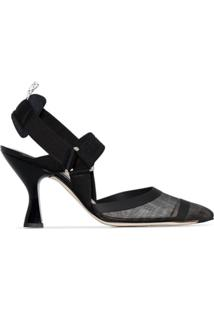 Fendi Sapato Colibri Com Fixação Posterior E Salto 85Mm - Preto