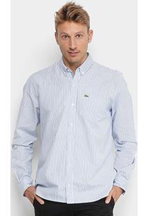 Camisa Lacoste Manga Longa Masculina - Masculino-Azul+Branco