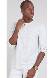 Camiseta Masculina Com Botões Manga Longa Gola Careca Cinza Mescla Claro