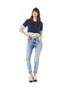 Calça Zinco Skinny Regular Cós Intermediário Com Reserva Jeans