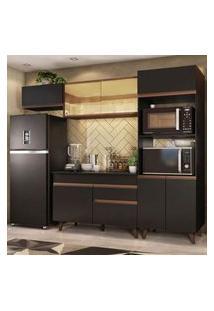 Cozinha Completa Madesa Reims 260001 Com Armário E Balcão Preto/Rustic Cor:Preto/Rustic