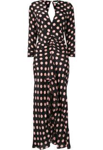 Rixo Polka Dot Print Dress - Preto