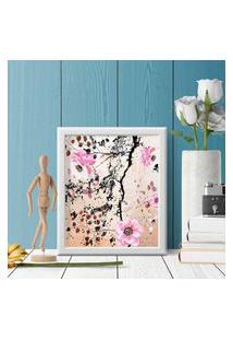 Quadro Decorativo Com Moldura Pintura Flores Branco - 20X25Cm