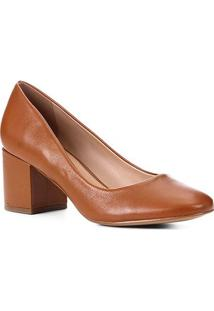 Scarpin Couro Shoestock Salto Bloco Confort - Feminino-Caramelo
