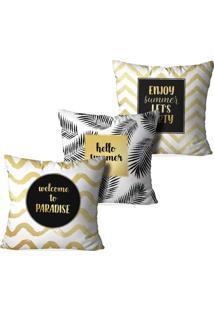 Kit 3 Capas Love Decor Para Almofadas Decorativas Hello Summer Multicolorido Amarelo