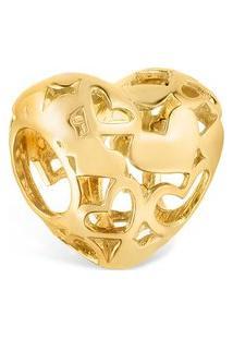 Pingente Life Coração Vazado Banho Ouro Amarelo