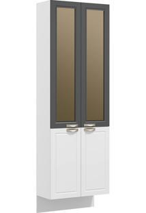 Paneleiro Suspenso 4 Portas Com Vidro Reflecta Nevada 5627Svd-Multimóveis - Branco Premium / Grafite Premium