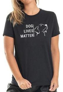 Camiseta Dog Lives Buddies Feminina - Feminino-Preto