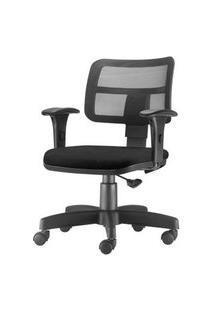 Cadeira Zip Tela Com Bracos Assento Courino Preto Base Rodizio Metalico Preto - 54469 Preto