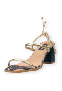 Sandália Salto Bloco Love Shoes Tiras Amarraçáo Onça Dourado