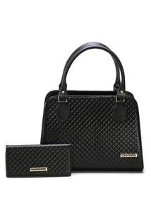 Bolsa Feminina Bicolor Mais Carteira Metalassê, Com Alça Transversal Santorini Handbag Preto